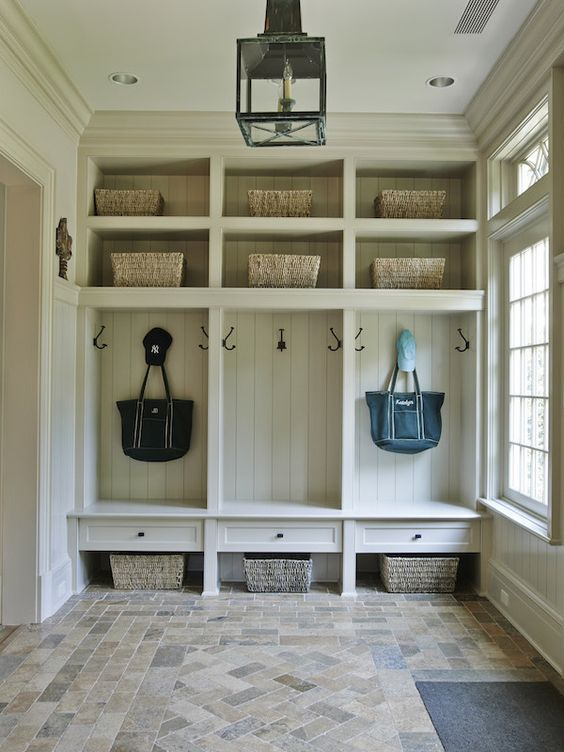 stone floor mudroom