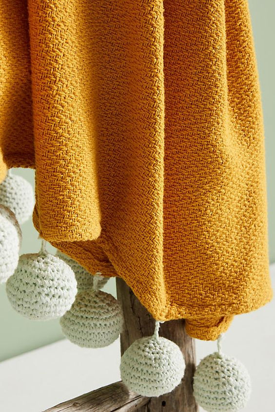 mustard yellow throw blanket