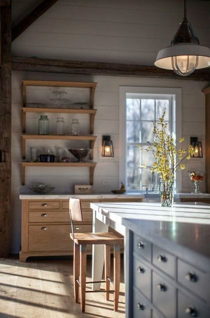 natural wood farmhouse kitchen