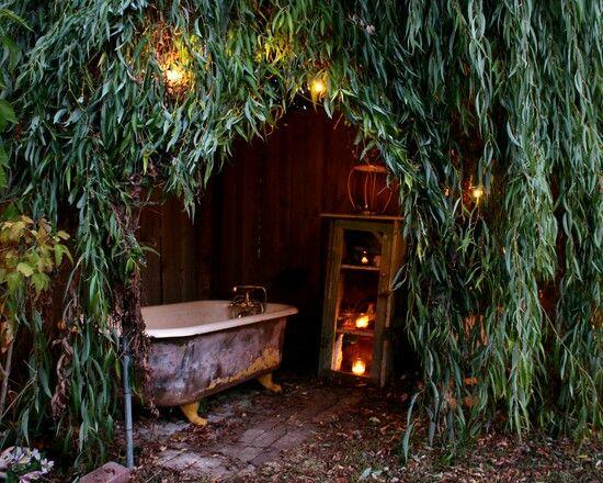 bathtub in garden