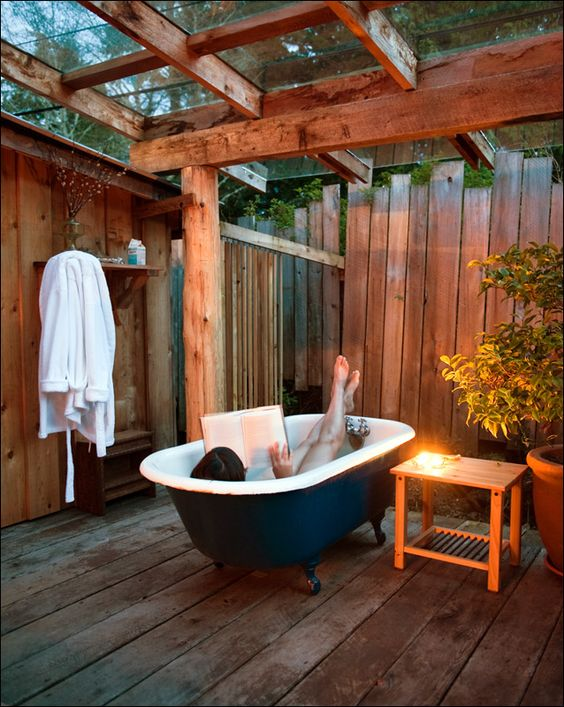 bathtub on porch