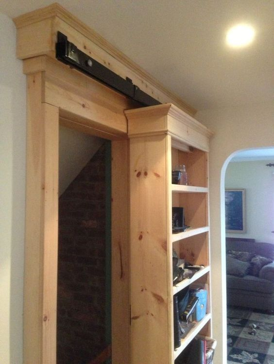bookshelf on barn door hardware