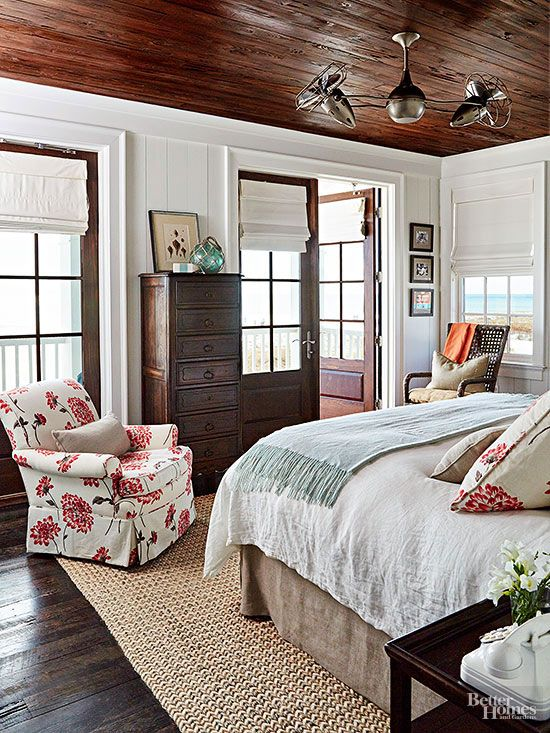 small bedroom wood ceiling