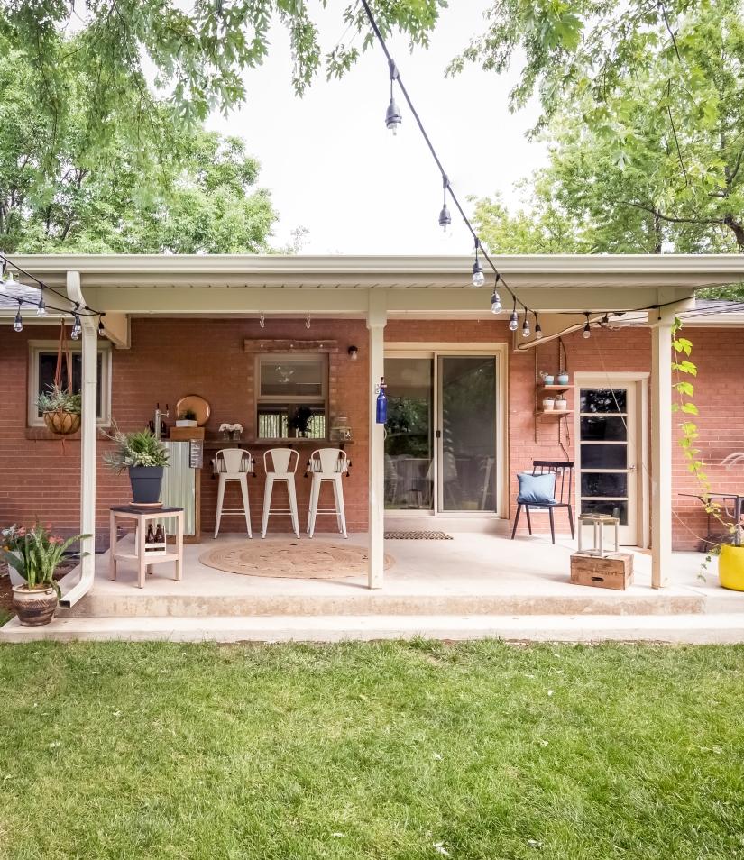 ranch patio with kegerator