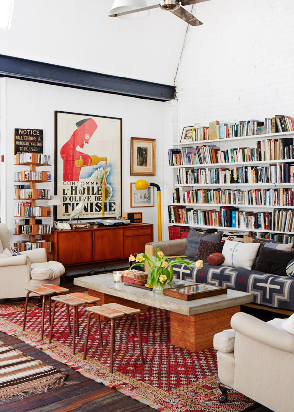 bold rug books art