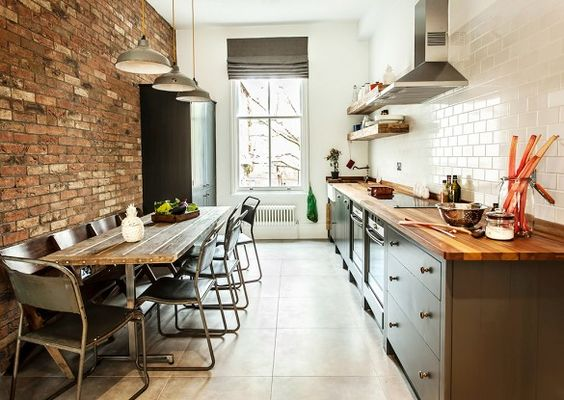 galley kitchen dining table