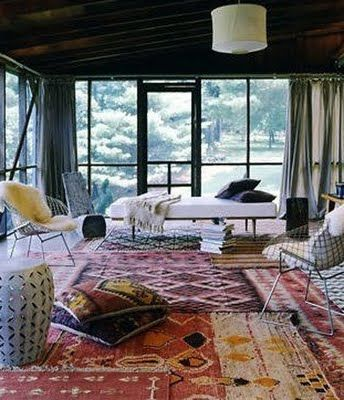 layered rugs porch