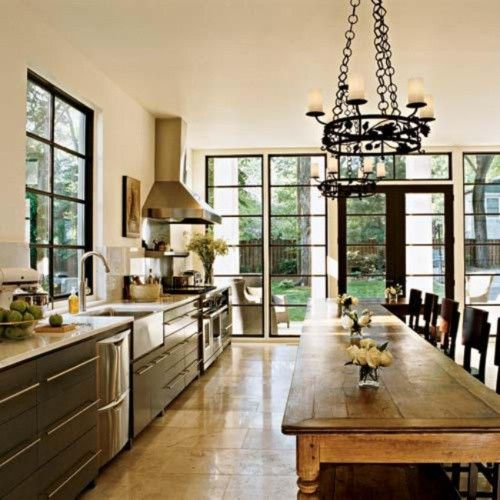 long table in kitchen