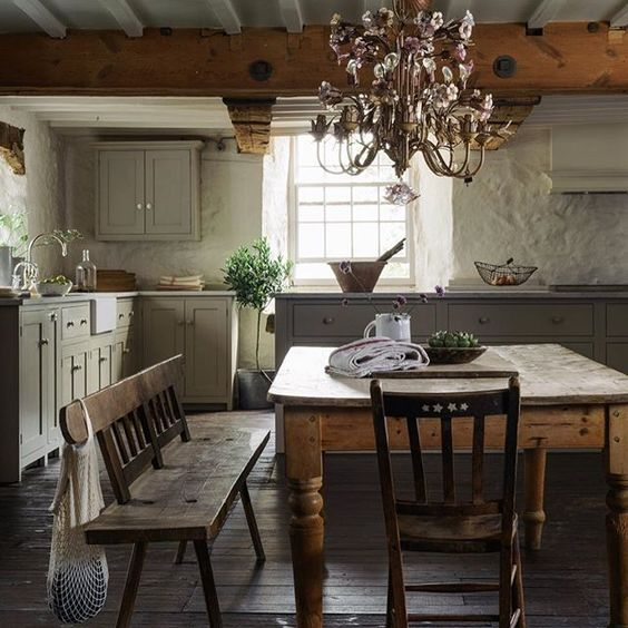 rustic table in kitchen