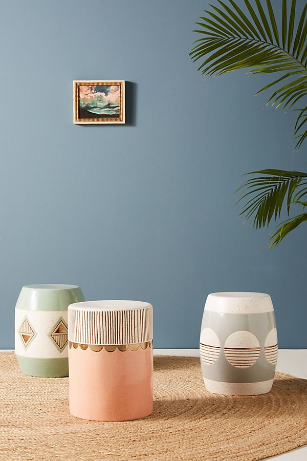 pastel colored garden stools