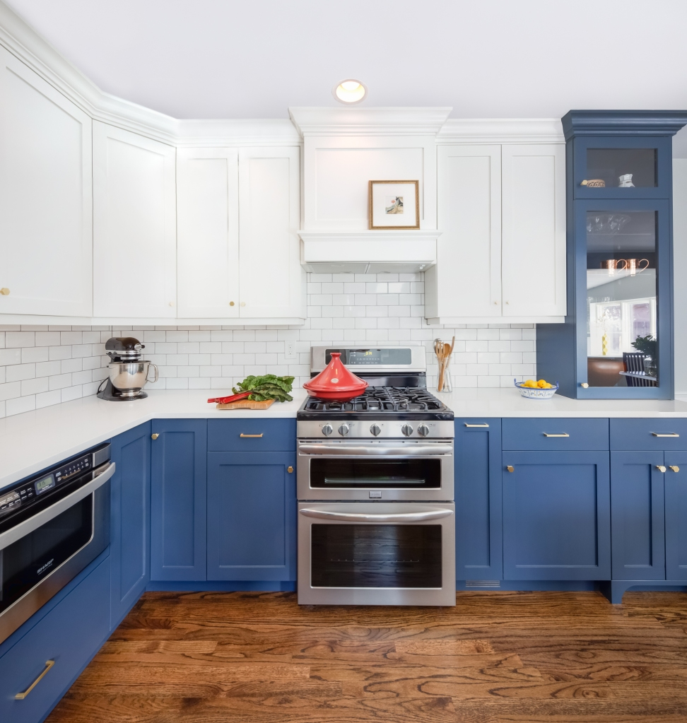 navy blue and white kitchen denver