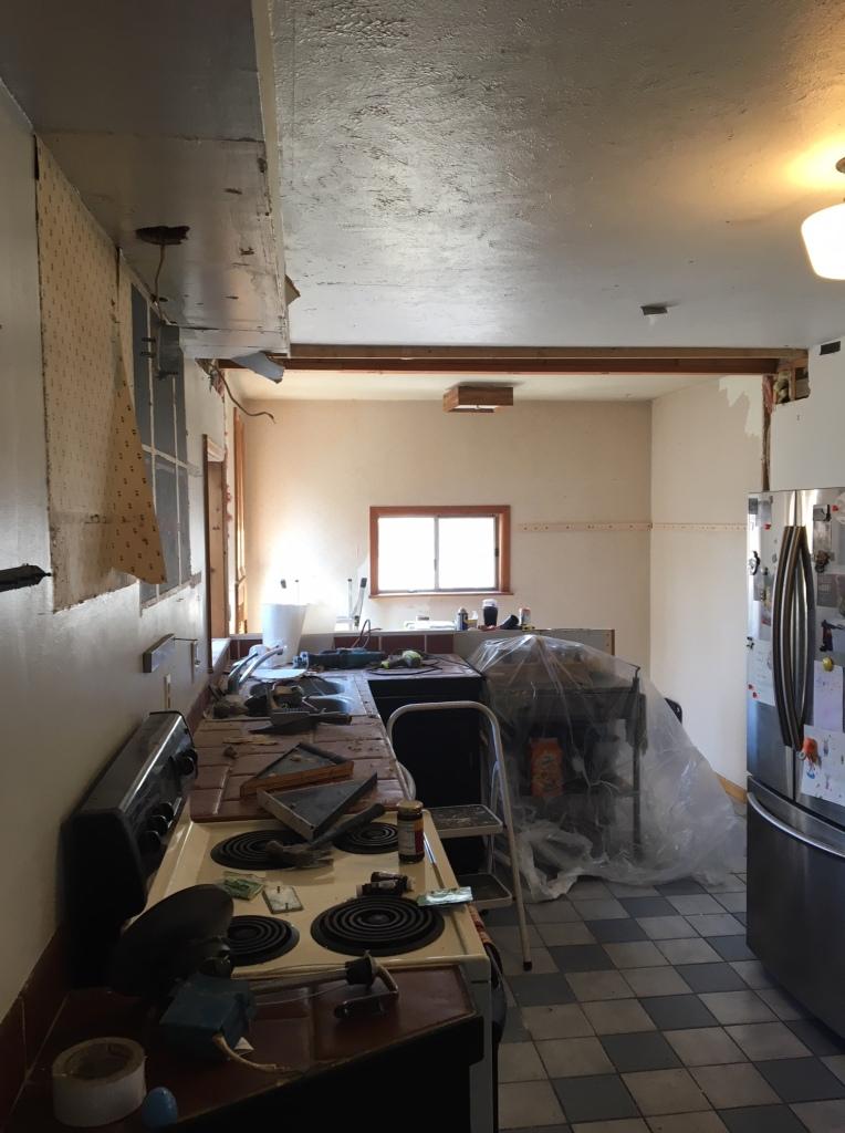 during kitchen renovation