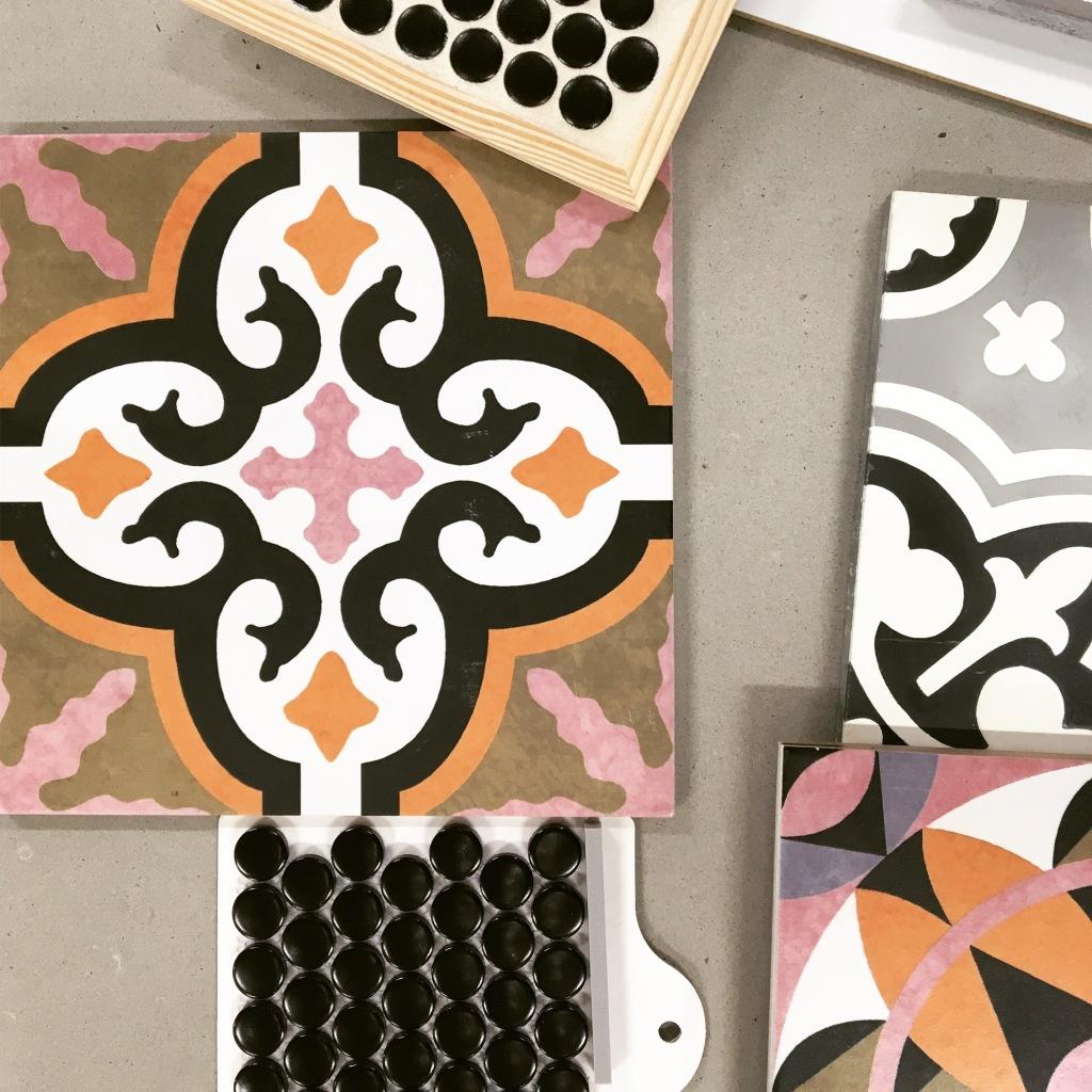 orange pink and black tile