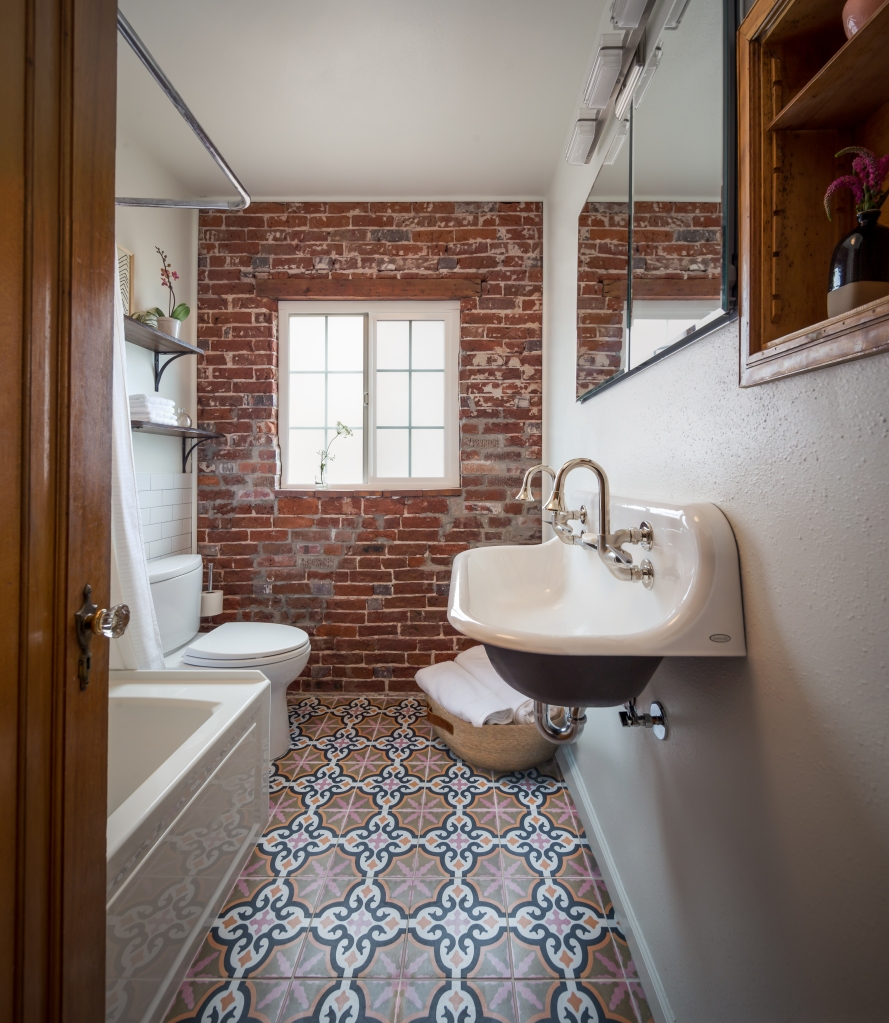 colorful patterned tile bathroom