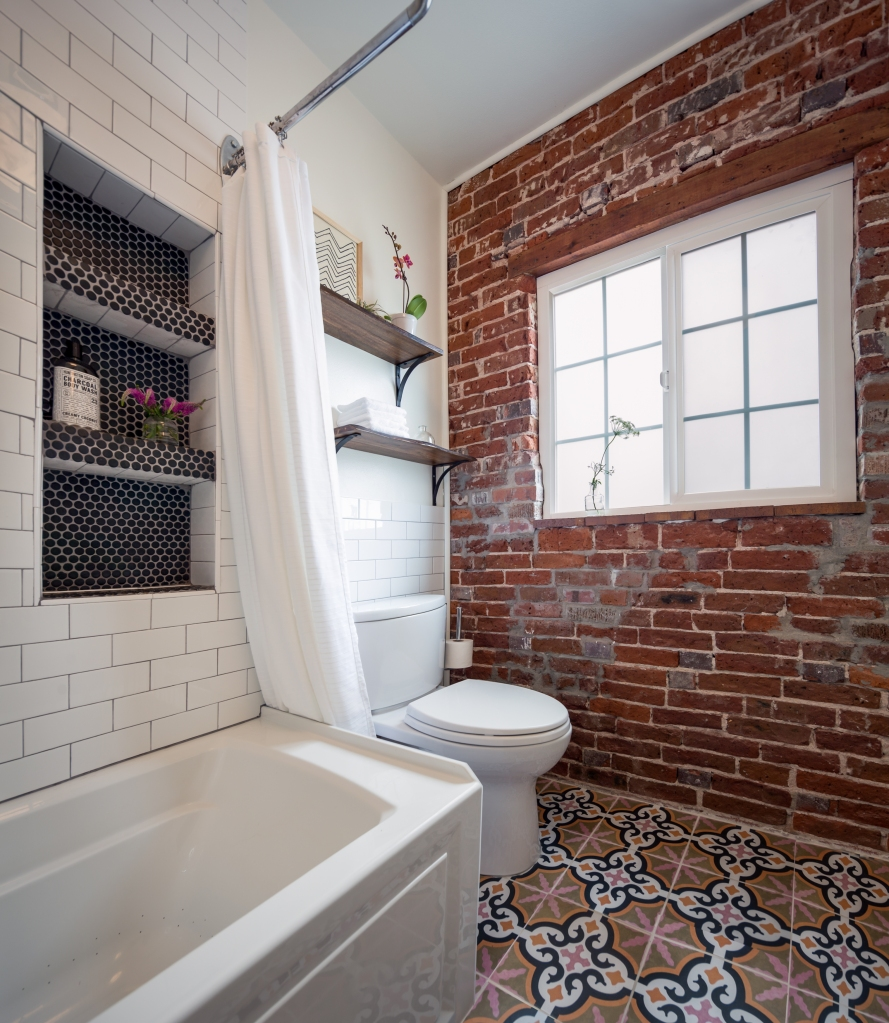 colorful patterned tile bathroom