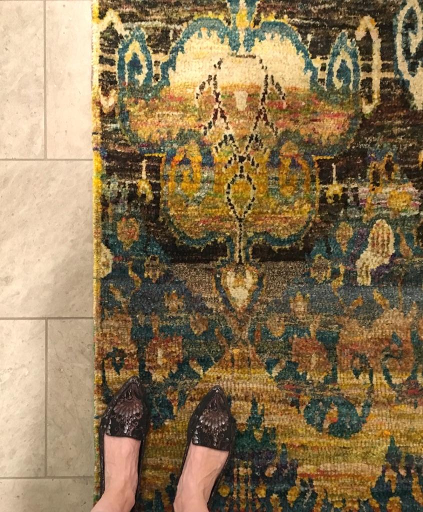 silk rug made of saris