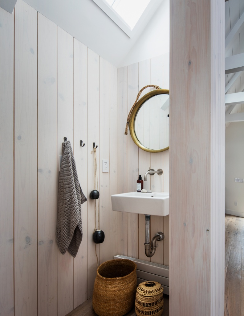 pine paneling bathroom