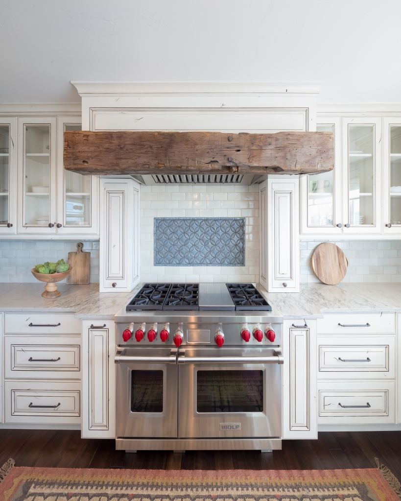 rustic beam over stove