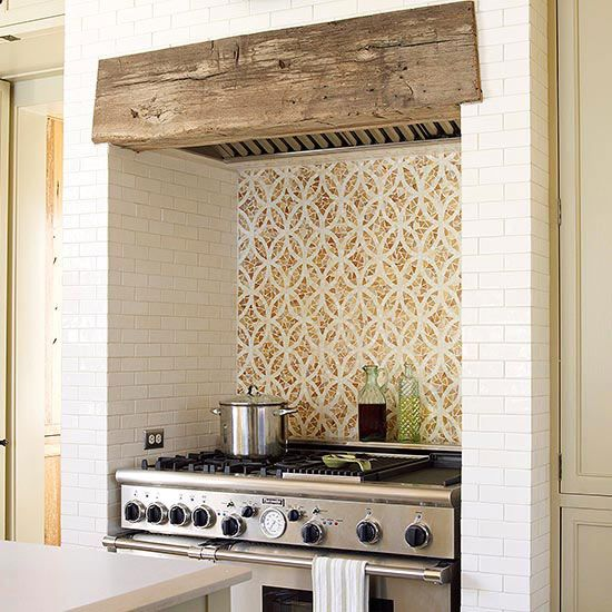 wood beam above a stove