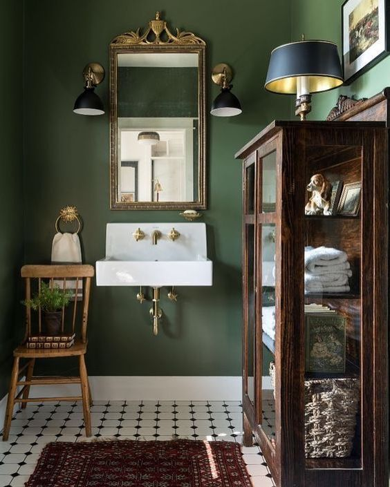 dark green powder room