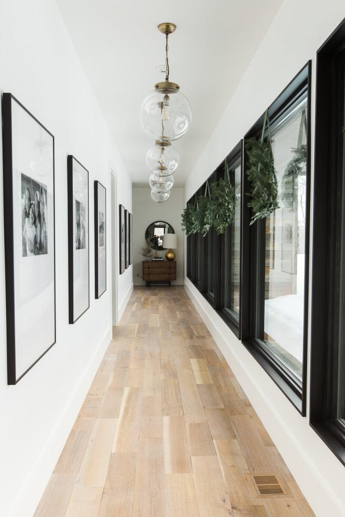 wreaths in hallway