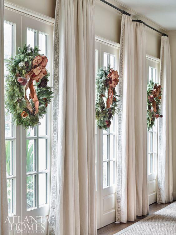 interior wreath with ribbon
