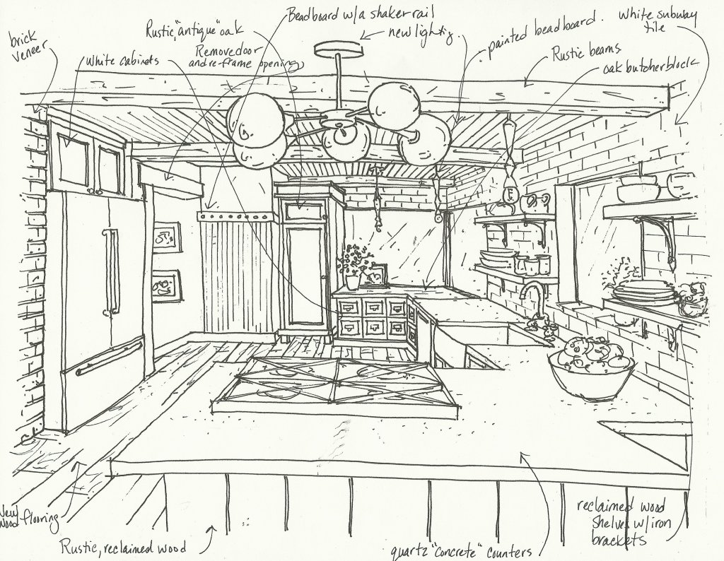 rustic vintage kitchen sketch