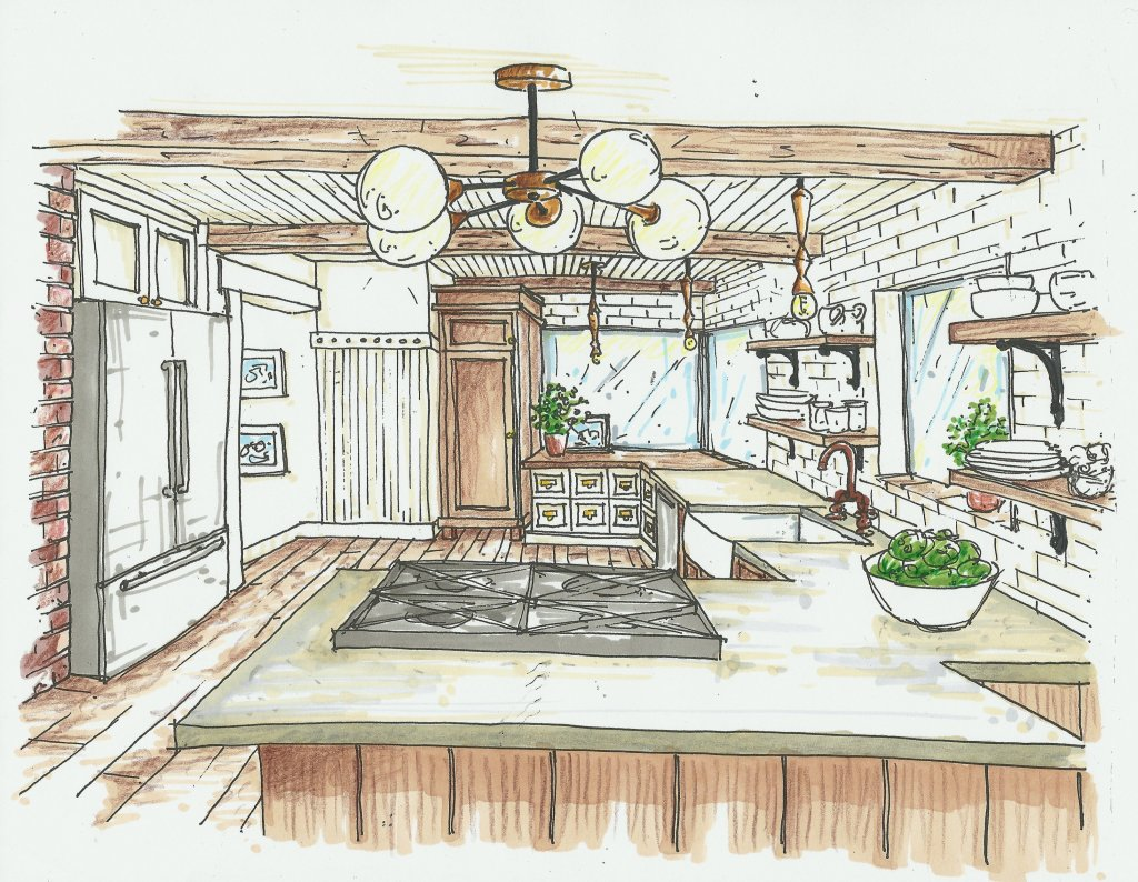 rustic vintage kitchen interior sketch