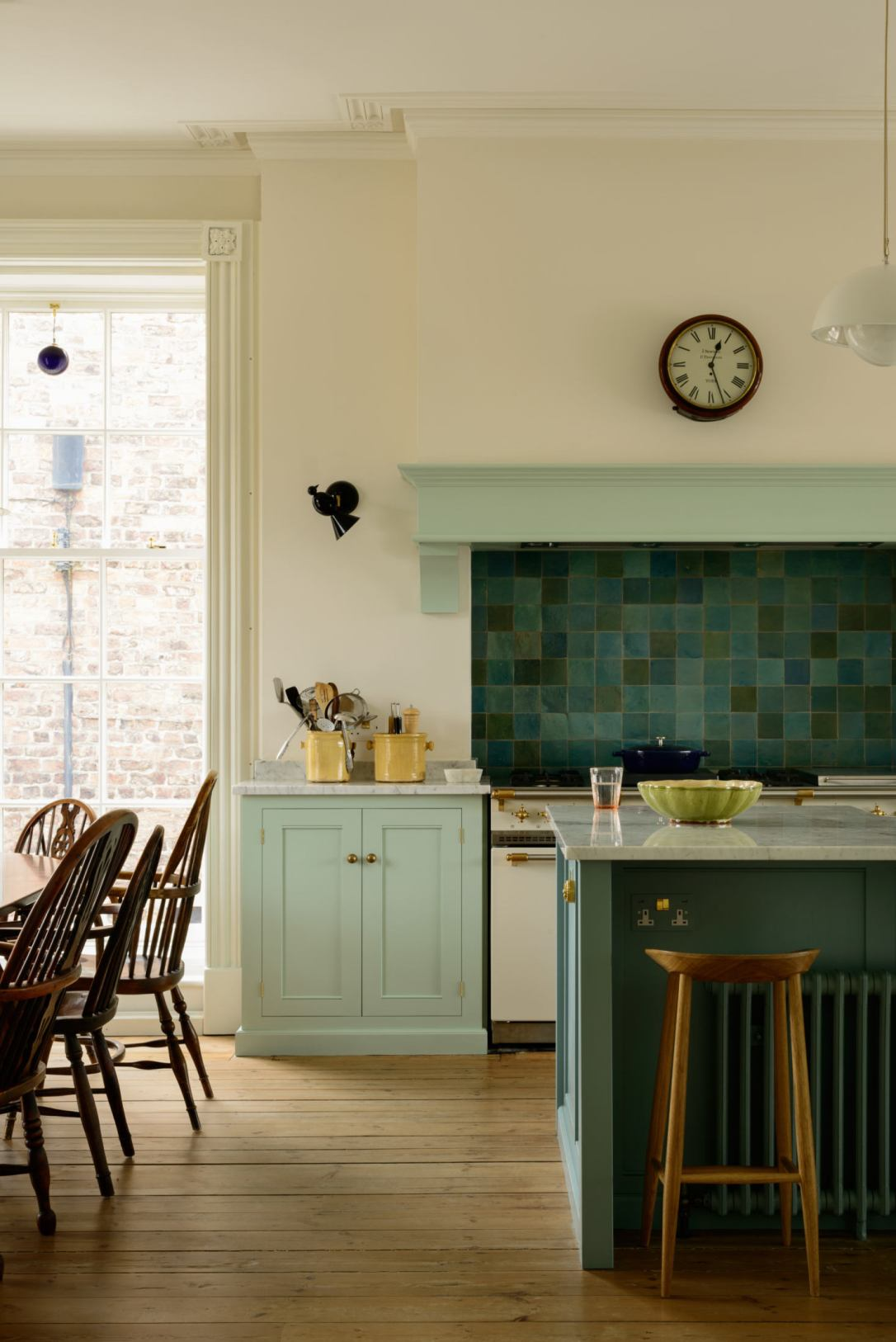 blue green kitchen