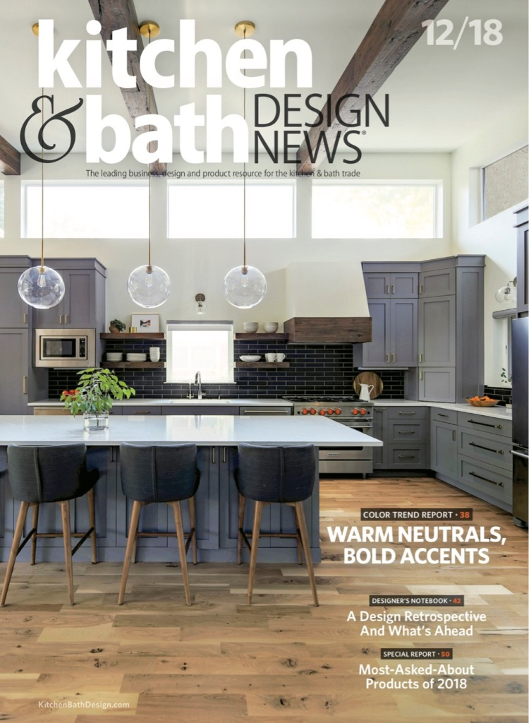gray kitchen on magazine cover