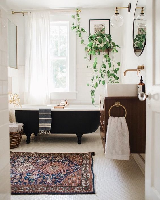 vintage rug bathroom simple