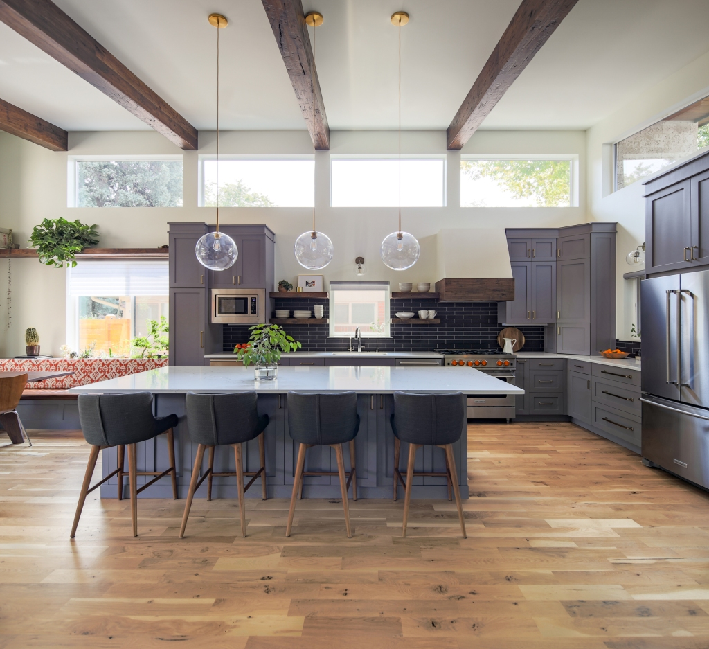 modern kitchen with beams
