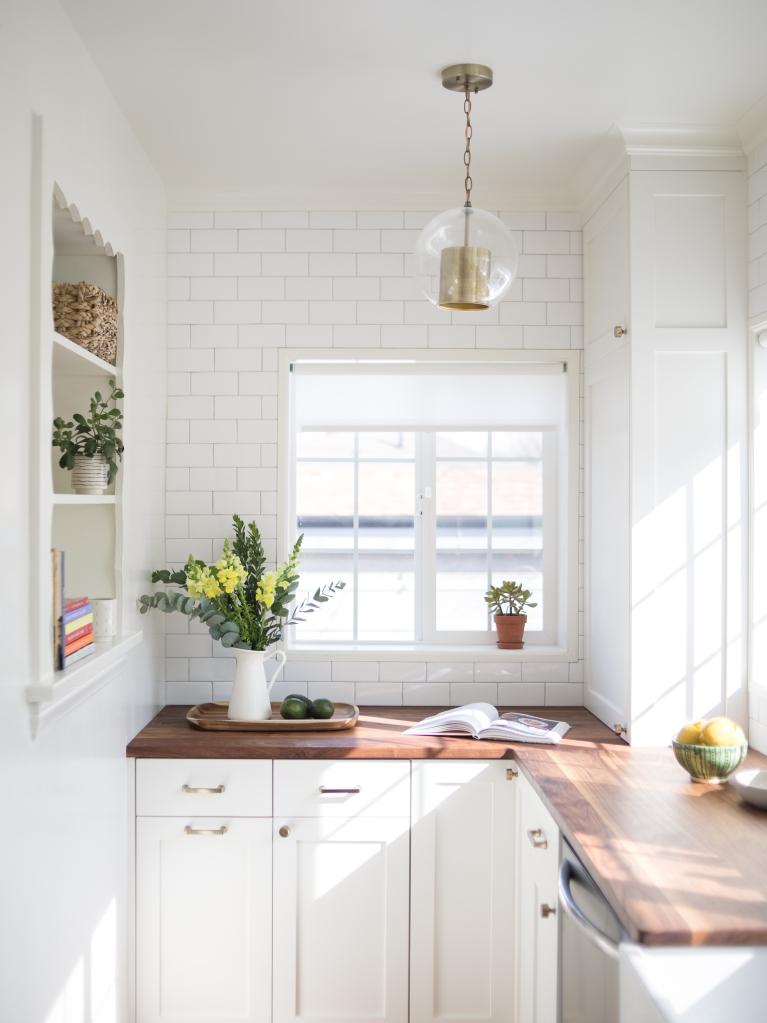 white kitchen walnut counters