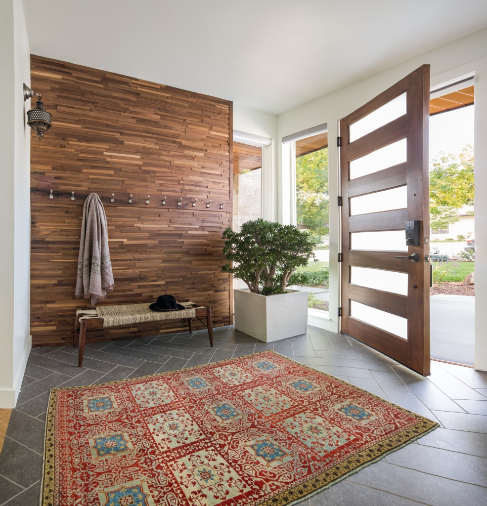 entry with walnut wall