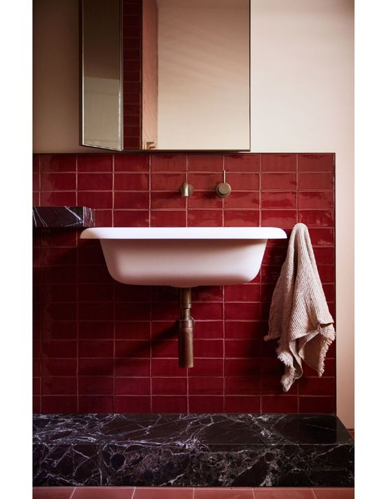 rose tile bathroom