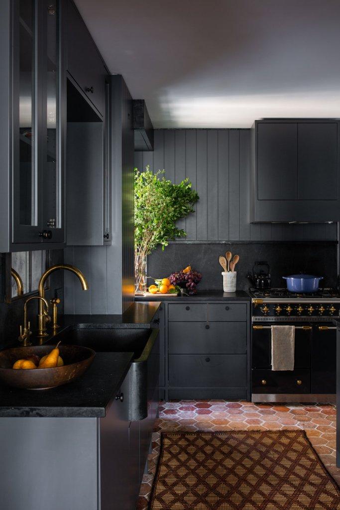 dark gray cabinets and walls