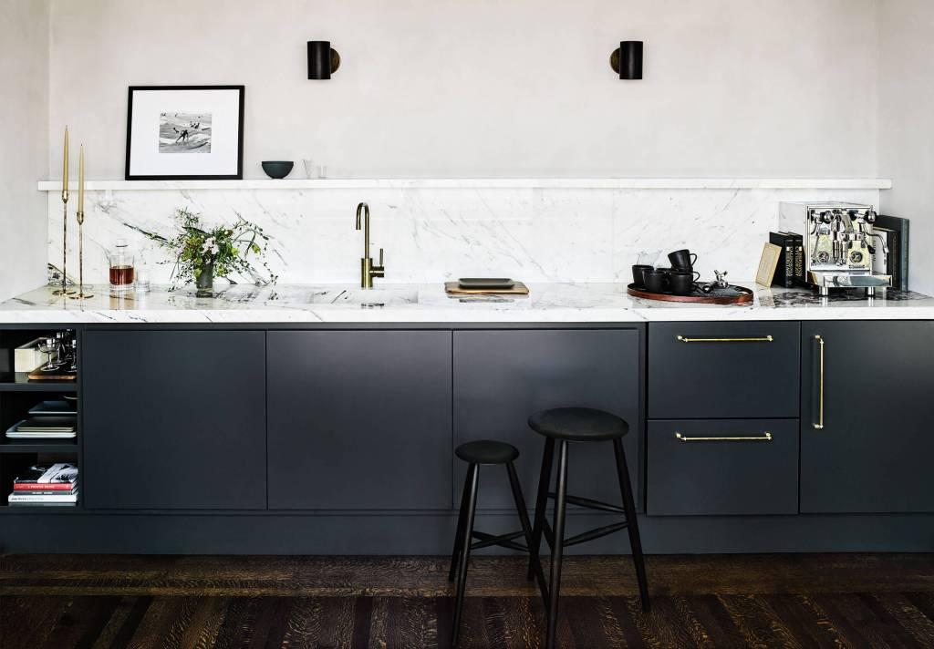 dark kitchen white marble