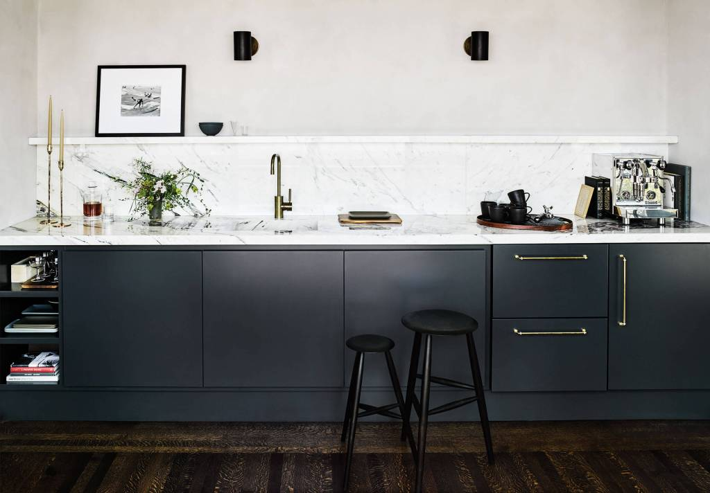 dark kitchen white marble