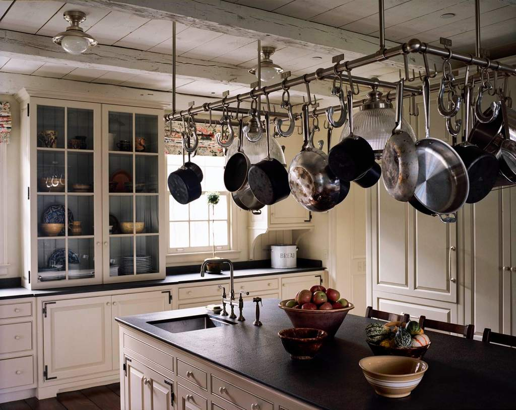 pot rack traditional kitchen