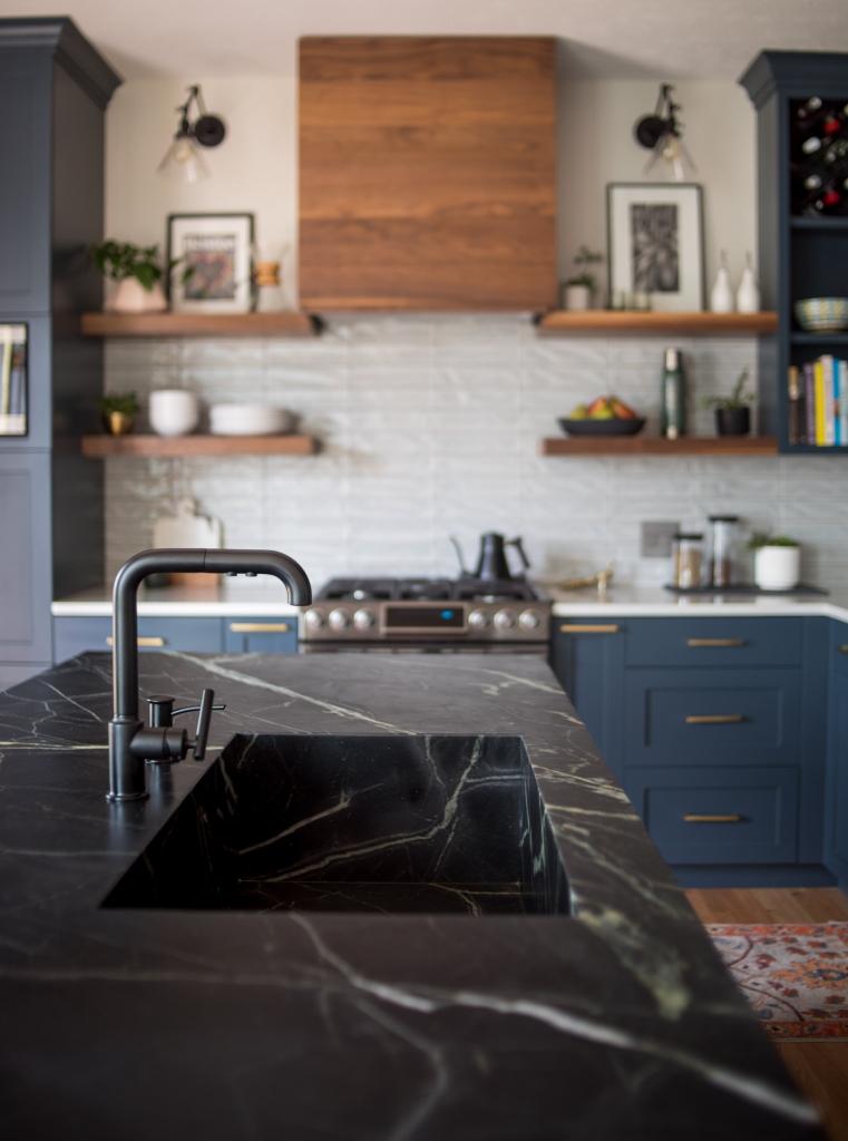 soapstone sink dark kitchen