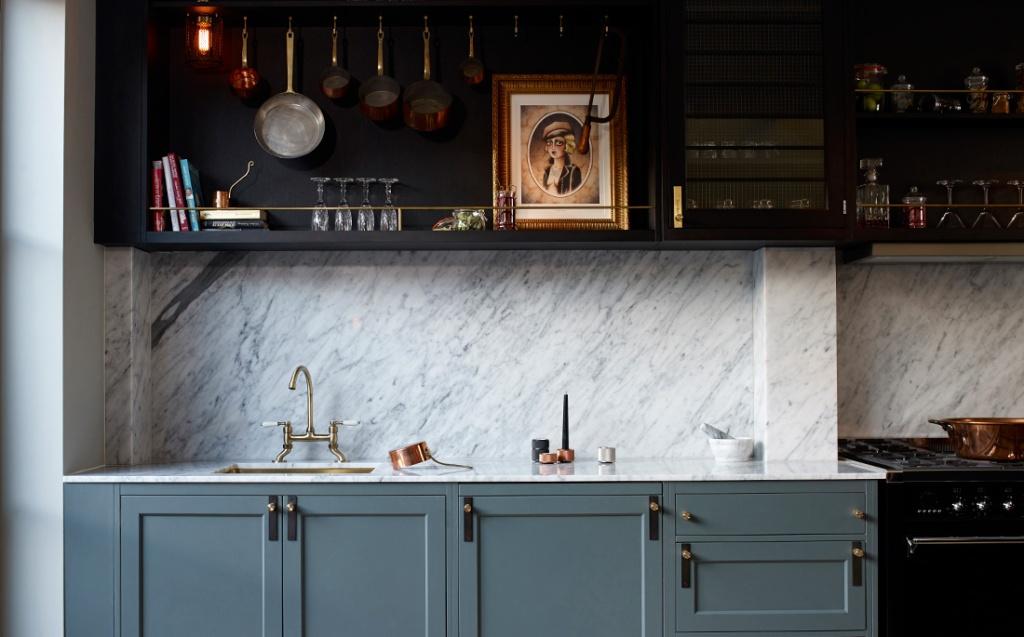 two toned dark kitchen