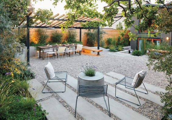 simple modern backyard