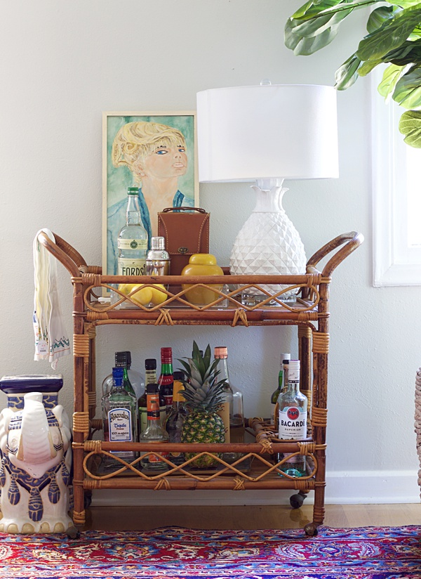 lamp on a bar cart