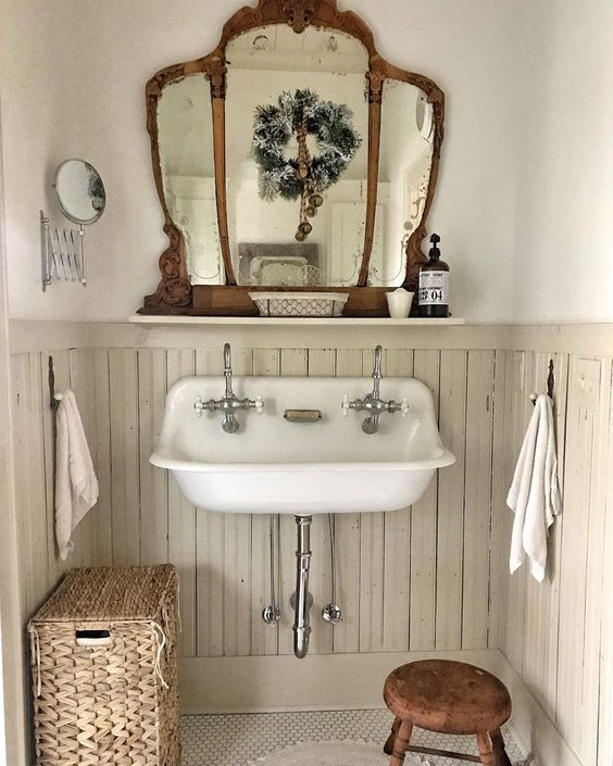 old beadboard bathroom