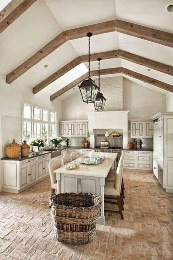 Brick floors kitchen
