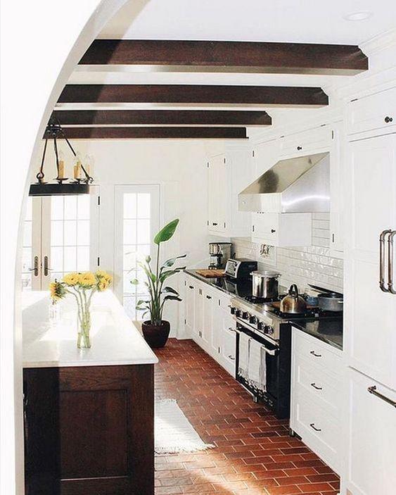 red brick floor kitchen
