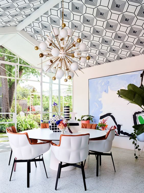 wallpaper ceiling dining room