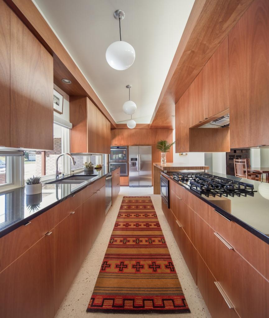 galley mid century kitchen