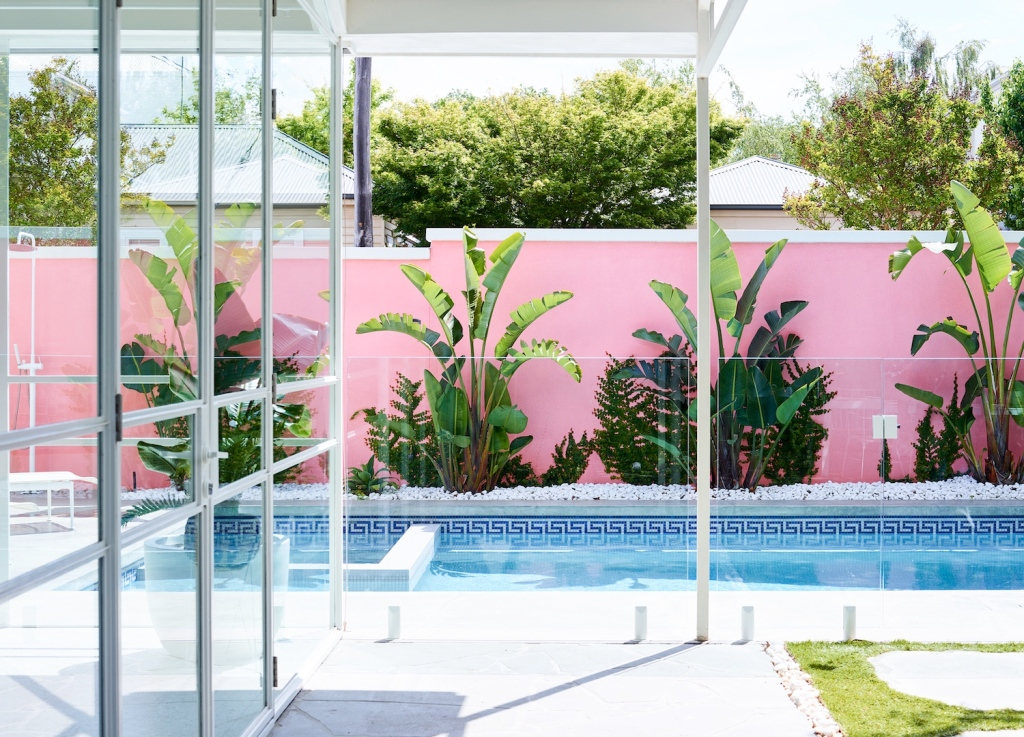 pink wall at pool