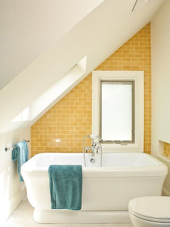 tub with yellow tile